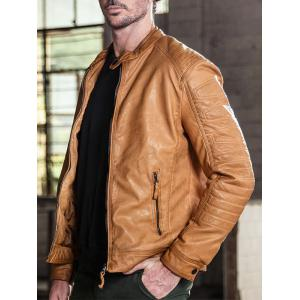 Raglan Sleeve Mandarin Collar Faux Leather Jacket -