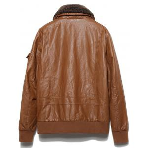Multi Pockets Borg Collar Faux Leather Jacket - BROWN XL