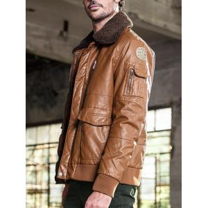 Multi Pockets Borg Collar Faux Leather Jacket - BROWN L