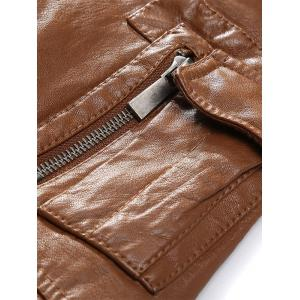 Multi Pockets Borg Collar Faux Leather Jacket -