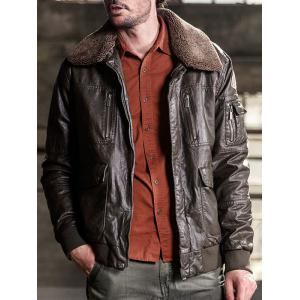 Multi Pockets Borg Collar Faux Leather Jacket - DEEP BROWN L