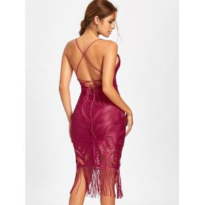 Backless Fringe Lace Cami Club Dress - RED XL