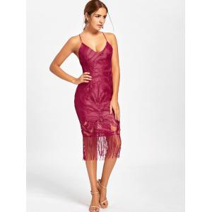 Backless Fringe Lace Cami Club Dress - RED S
