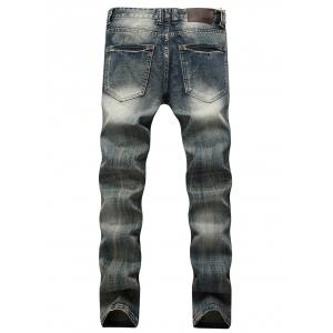 Faded Wash Slim Fit Ripped Jeans - Bleu 42