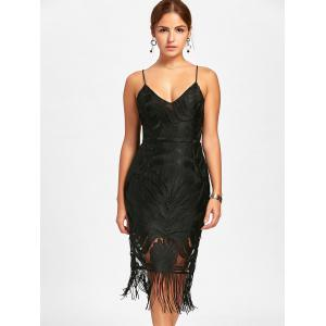 Backless Fringe Lace Cami Club Dress - BLACK XL