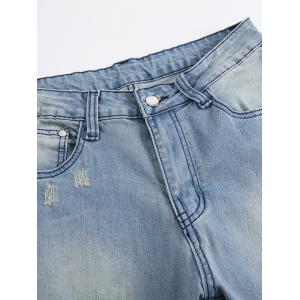 Faded Wash Heavy Distressed Skinny Jeans - BLUE 32