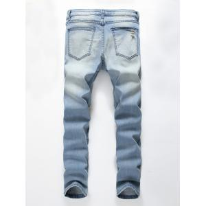 Faded Wash Heavy Distressed Skinny Jeans - Bleu 34
