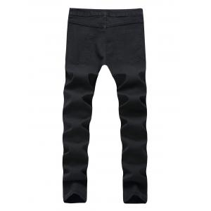 Faded Wash Heavy Distressed Skinny Jeans - Noir 40