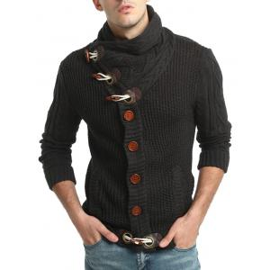 Horn Button Cowl Neck Single Breasted Cardigan - DEEP GRAY L