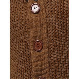 Horn Button Cowl Neck Single Breasted Cardigan - CAMEL 2XL