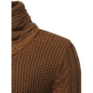 Horn Button Cowl Neck Single Breasted Cardigan - CAMEL L