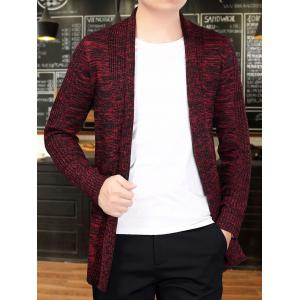 Knitted Open Front Cardigan - RED L