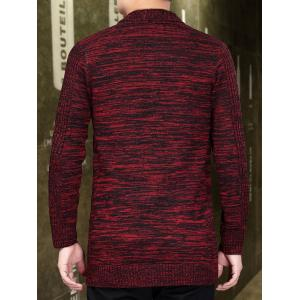 Knitted Open Front Cardigan - RED 2XL