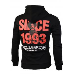 Offset Printing Pullover Graphic Hoodie - BLACK L