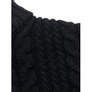 Full Zip Cable Knit Cardigan - BLACK L