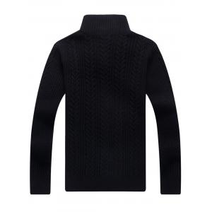 Full Zip Cable Knit Cardigan - BLACK 3XL