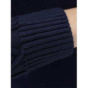 Crew Neck Cable Knit Jumper - BLACK 3XL