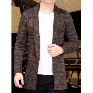 Knitted Open Front Cardigan - COFFEE XL