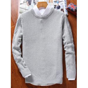 Crew Neck Cable Knit Jumper - GRAY 2XL