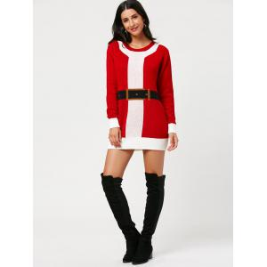 Belted Pattern Christmas Mini Sweater Dress -