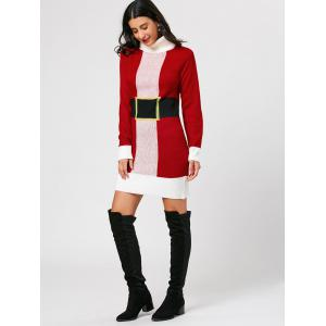 Belted Pattern Christmas Turtleneck Sweater Dress - RED ONE SIZE
