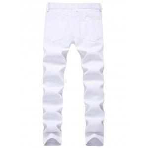 Zip Embellished Ripped Jeans - Blanc 38