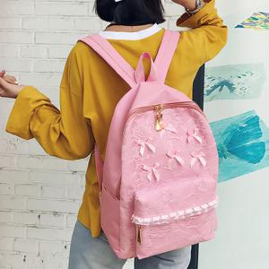 Ribbon Lace Bow Backpack - PINK