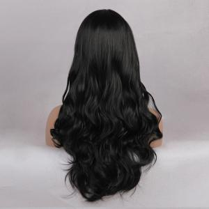 Middle Part Long Wavy Synthetic Wig - JET BLACK 01# 24INCH