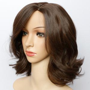 Short Side Parting Bouffant Wavy Synthetic Wig - LIGHT BROWN 14INCH