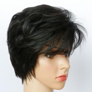 Short Side Bang Fluffy Textured Slightly Curled Synthetic Wig - JET BLACK 01#
