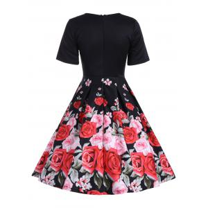 Short Sleeve Floral Vintage A Line Dress - BLACK S