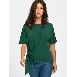 Asymmetrical Batwing Sleeve Front Tie T-shirt - BLACKISH GREEN S