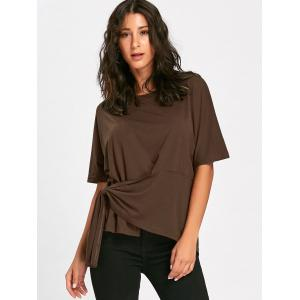 Asymmetrical Batwing Sleeve Front Tie T-shirt -