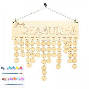 Family Birthday Calendar Reminder DIY Colorful Wooden Board - ROUND