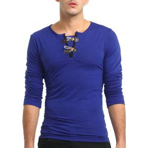 Long Sleeve PU Leather Horn Button T-shirt - ROYAL 3XL