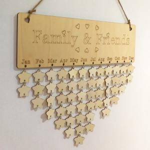 DIY Wooden Family And Friends Birthday Calendar Board - STAR