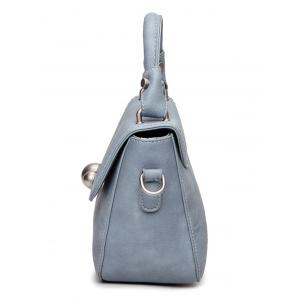 Faux Leather Stitching Tote Bag - LAKE BLUE