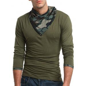 Camouflage Panel Cowl Neck Zipper T-shirt - ARMY GREEN 3XL