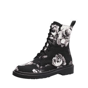 Lace Up Stitching Floral Boots - BLACK 35