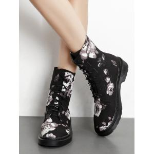 Lace Up Stitching Floral Boots - BLACK 39