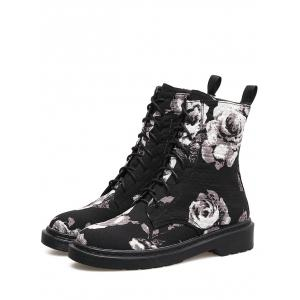 Lace Up Stitching Floral Boots -