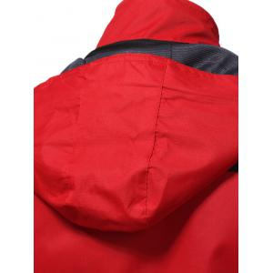 Color Block Hooded Technical Zip Up Jacket - RED XL