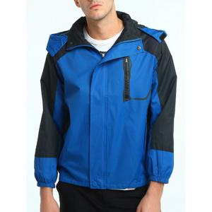 Color Block Hooded Technical Zip Up Jacket - BLUE XL
