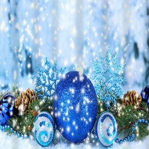 Christmas Ball Waterproof Fabric Shower Curtain - ICE BLUE W71 INCH * L79 INCH