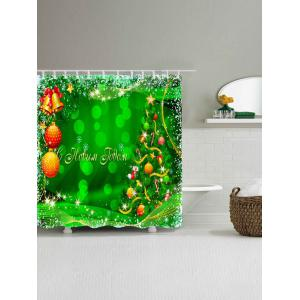 Christmas Tree Waterproof Fabric Bath Curtain - GREEN W71 INCH * L79 INCH