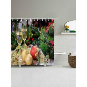 Waterproof Christmas Graphic Shower Curtain - COLORMIX W71 INCH * L79 INCH