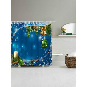 Christmas Bell Ball Waterproof Fabric Shower Curtain - BLUE W71 INCH * L79 INCH