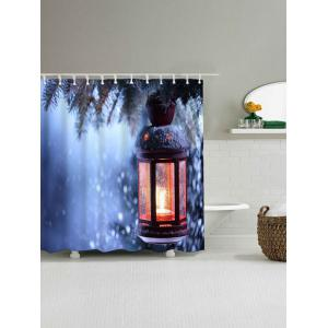 Waterproof Christmas Candle Bath Curtain - BLUE W71 INCH * L71 INCH