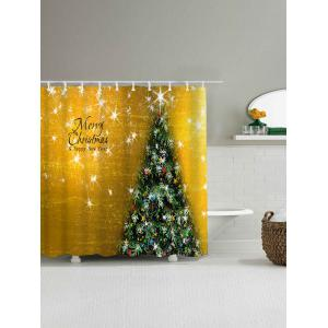 Waterproof Fabric Christmas Tree Shower Curtain - GOLDEN W59 INCH * L71 INCH