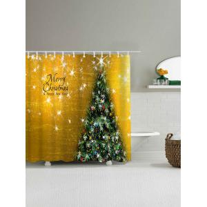 Waterproof Fabric Christmas Tree Shower Curtain - GOLDEN W71 INCH * L79 INCH